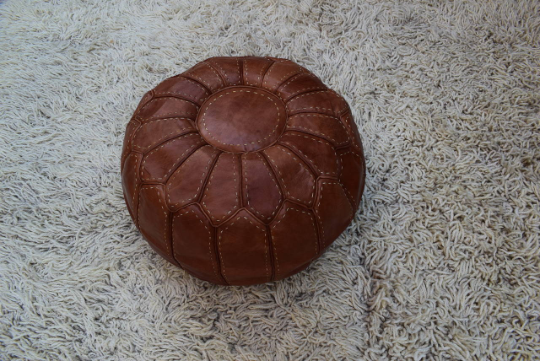 Leather pouf hand stiched